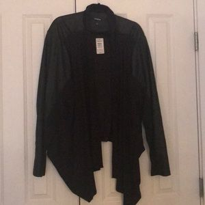 Drape front with faux leather jacket
